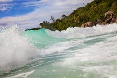 Waves at Anse Lazio Seychelles royalty free stock photography