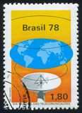 Waves from Antenna Uniting World. BRAZIL - CIRCA 1978: stamp printed by Brazil, shows  Waves from Antenna Uniting World, circa 1978 stock image