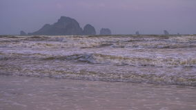 Waves on Ao Nang Beach in Low Season, Krabi Province, Thailand stock video footage
