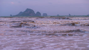 Waves on Ao Nang Beach in Low Season, Krabi Province, Thailand.  Royalty Free Stock Photo