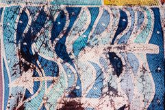 Waves and arrows, hot batik, background texture, handmade on silk, abstract surrealism art stock image