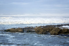 Waves ashore the winter Atlantic ocean Royalty Free Stock Images