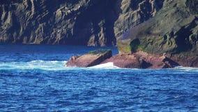 Waves Atlantic Ocean Breaking onto Rocks stock video