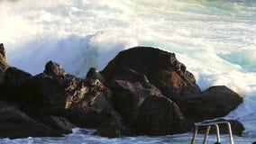 Waves Atlantic Ocean Breaking onto Rocks stock footage