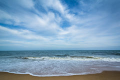 Waves in the Atlantic Ocean at Cape Henlopen State Park, in Reho Royalty Free Stock Photos