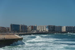 Waves of Atlantic ocean. Casablanca seafront view. Morocco Stock Images