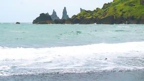Waves in Atlantic Ocean at Reynisdrangar rock formation stock video