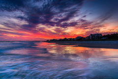 Waves in the Atlantic Ocean at sunset, in Folly Beach, South Car Stock Photography