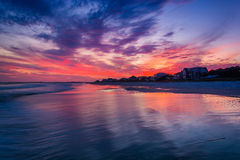 Waves in the Atlantic Ocean at sunset, in Folly Beach, South Car Royalty Free Stock Photo