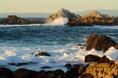 Waves crashing near Big Sur and Monterey, California Stock Photos
