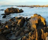 Waves crashing near Monterey, California. Waves background on Asilomar State Marine Reserve, Pacific Grove near Monterey and Big Sur, California, USA Royalty Free Stock Photography
