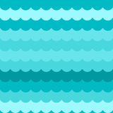 Waves background seamless vector, blue flat wave pattern repeated seamlessly Stock Photos