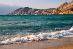 Waves at Baska beach in Krk -Croatia Royalty Free Stock Images
