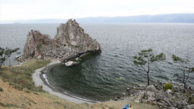 Waves in the bay on lake Baikal stock footage