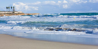 Waves on a beach. During an autumn season.Spain Royalty Free Stock Photos