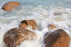 Waves on the beach Anse Lazio Stock Photo
