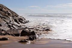 Waves on the beach Areia Branca. West coast of Portugal. Waves on the beach Areia Branca. Lourinha, west coast of Portugal stock images