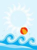 Waves and beach ball Royalty Free Stock Photo