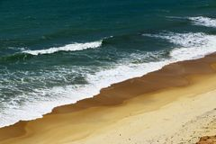 Waves and beach in Brazil seen from above stock image