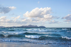 Waves on beach of Can Picafort, Mallorca, Balearic Islands. Spain Stock Images