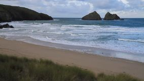 Waves on the beach Holywell Bay Cornwall England near Newquay Stock Image