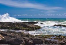 Waves On The Beach Of A mediateranea Sea stock photos