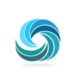 Waves beach water. Blue beach waves spiral shape vector image Royalty Free Stock Photos