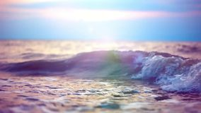 Waves beating against the shore during dramatic stock video