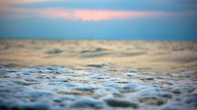 Waves beating against the shore during dramatic stock footage