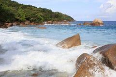 Waves on the beautiful beach Anse Lazio Royalty Free Stock Photo