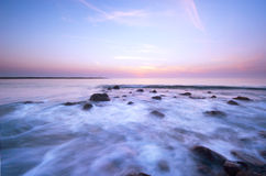 Waves on a beautiful night Stock Images
