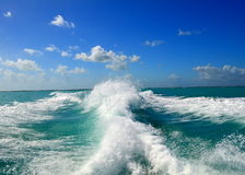 Waves. Behind the boat from Belize City to Caye Caulker royalty free stock image