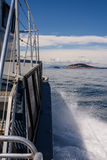 Waves behind the boat. Wave of a ferry ship on the open ocean Stock Photography