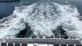 The waves behind the yacht. On the Mediterranean stock video footage