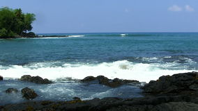 Waves On Big Island Hawaii With Volcanic Rock Shore stock video