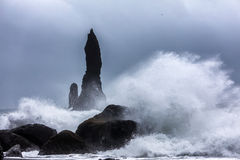 Waves on the black beach of Reynisfjara in Iceland Stock Images