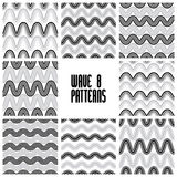 Waves black and white seamless patterns set, geometric vector ba Stock Image