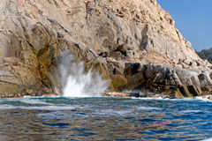 Waves and blow hole on rocks Royalty Free Stock Photo