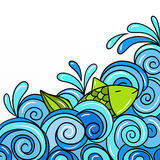 Waves blue. Fish in the waves blue vector illustration