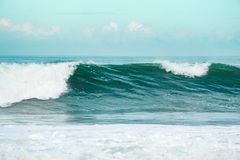 The waves in the blue sea. In the coast in the nature stock illustration