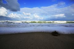 The blue sea waves Landscapes. The waves of the blue sea and the wind blowing on the ocean waves are high stock image