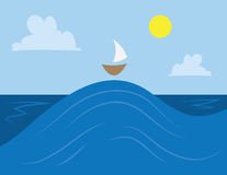 Waves and Boat Royalty Free Stock Images