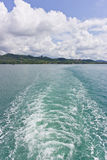 Waves from the boat. Waves from the the stern royalty free stock photography