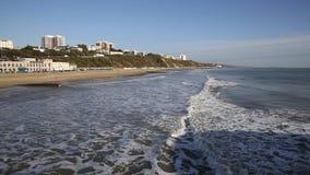Waves on Bournemouth coast Dorset England UK near to Poole stock video footage