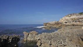 Waves break about rocks, the Atlantic Ocean at coast of Portugal stock video