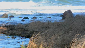 Waves breaking against a shoreline on the island of Gotland in Sweden stock video footage