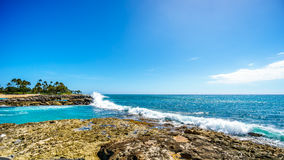 Waves breaking on the barriers of the lagoons at the resort community of Ko Olina Stock Photos