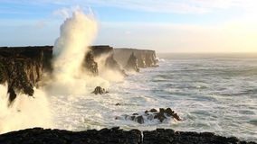 Waves breaking on black rocks in Iceland stock footage