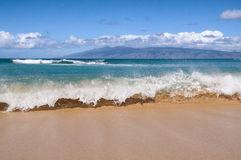 Waves Breaking On A Hawaiian Beach Stock Photos