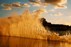 Waves breaking on the jetty Royalty Free Stock Image